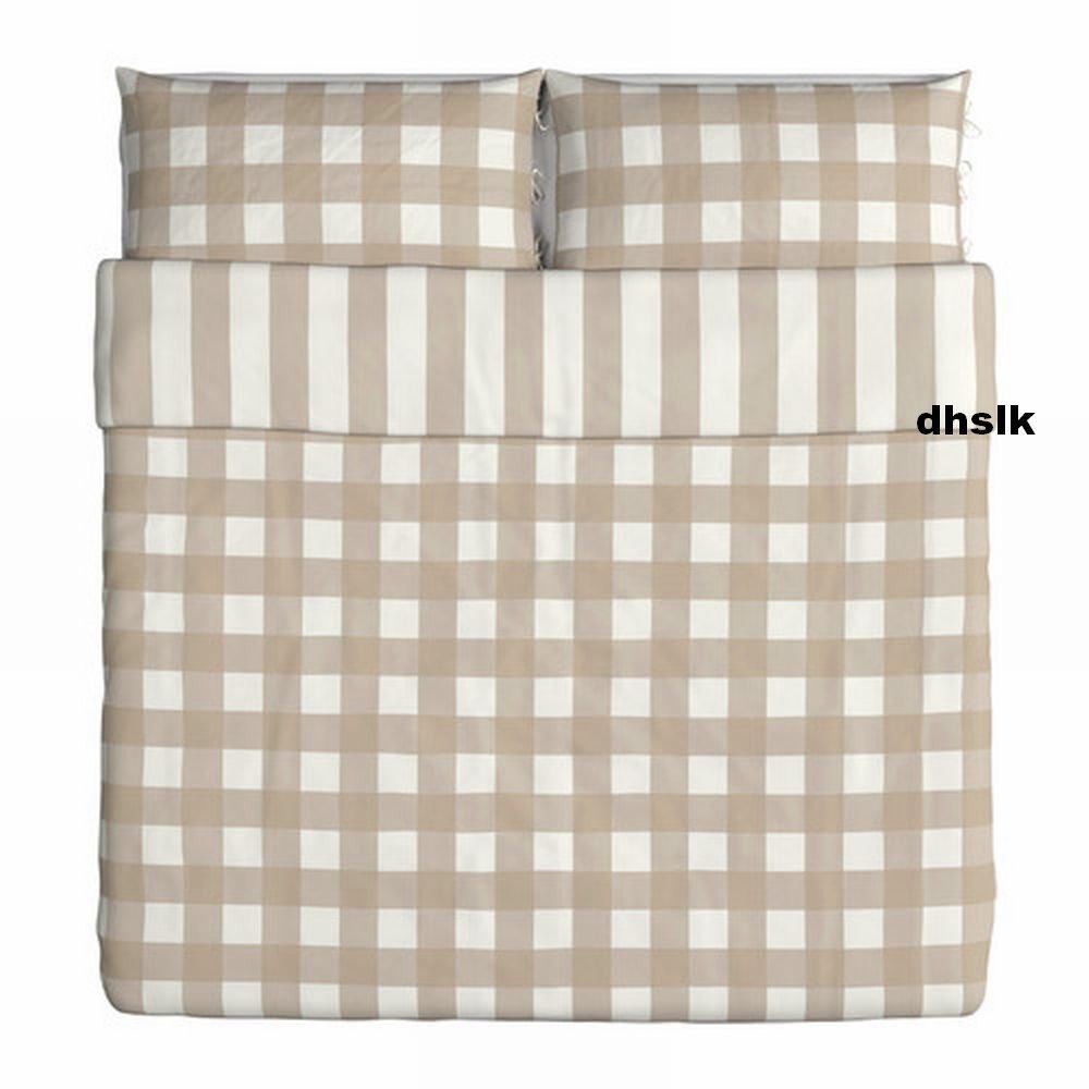 ikea emmie ruta king duvet cover pillowcases set beige white checks plaid. Black Bedroom Furniture Sets. Home Design Ideas