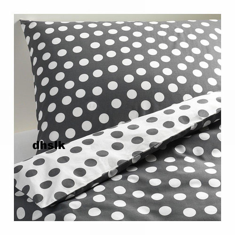ikea stenklover queen duvet cover set polka dots gray stenkl ver grey. Black Bedroom Furniture Sets. Home Design Ideas