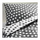 IKEA STENKLOVER QUEEN Duvet COVER Set POLKA DOTS Gray STENKLÖVER Grey