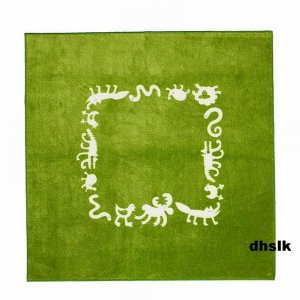 IKEA BARNSLIG RINGDANS Area Throw RUG Mat GREEN Kids Decor ANIMALS Moose Fox