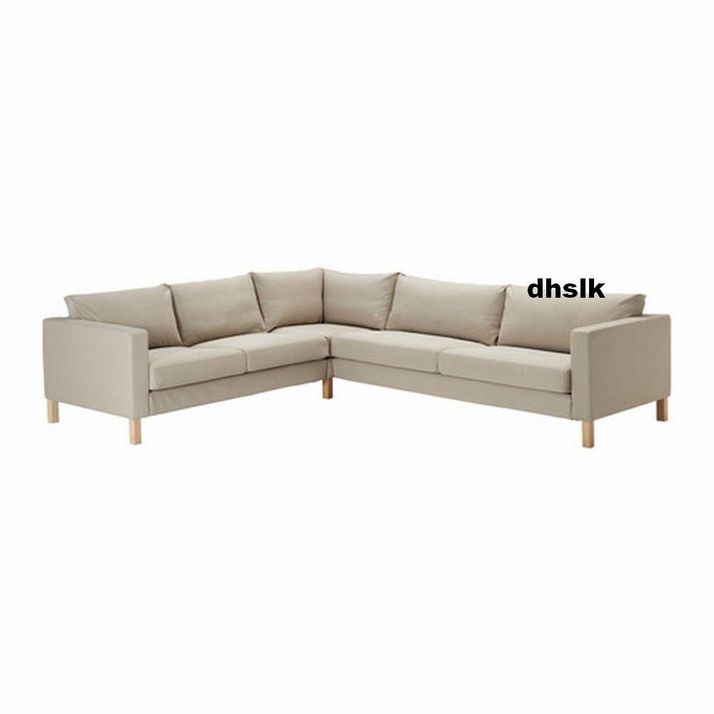 Ikea KARLSTAD Corner Sofa SLIPCOVER Cover SIVIK BEIGE Mid Century ...