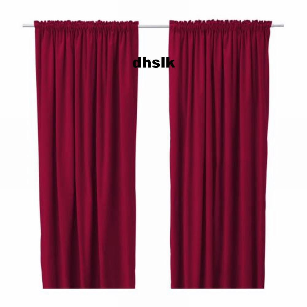 ikea sanela curtains drapes 2 panels red velvet 118 long. Black Bedroom Furniture Sets. Home Design Ideas