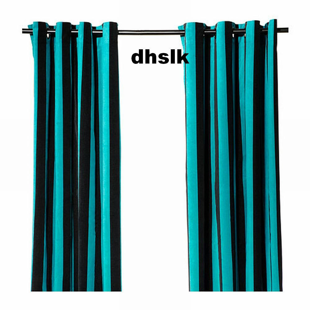 ikea n tvide natvide curtains drapes 2 panels turquoise black velvet striped. Black Bedroom Furniture Sets. Home Design Ideas