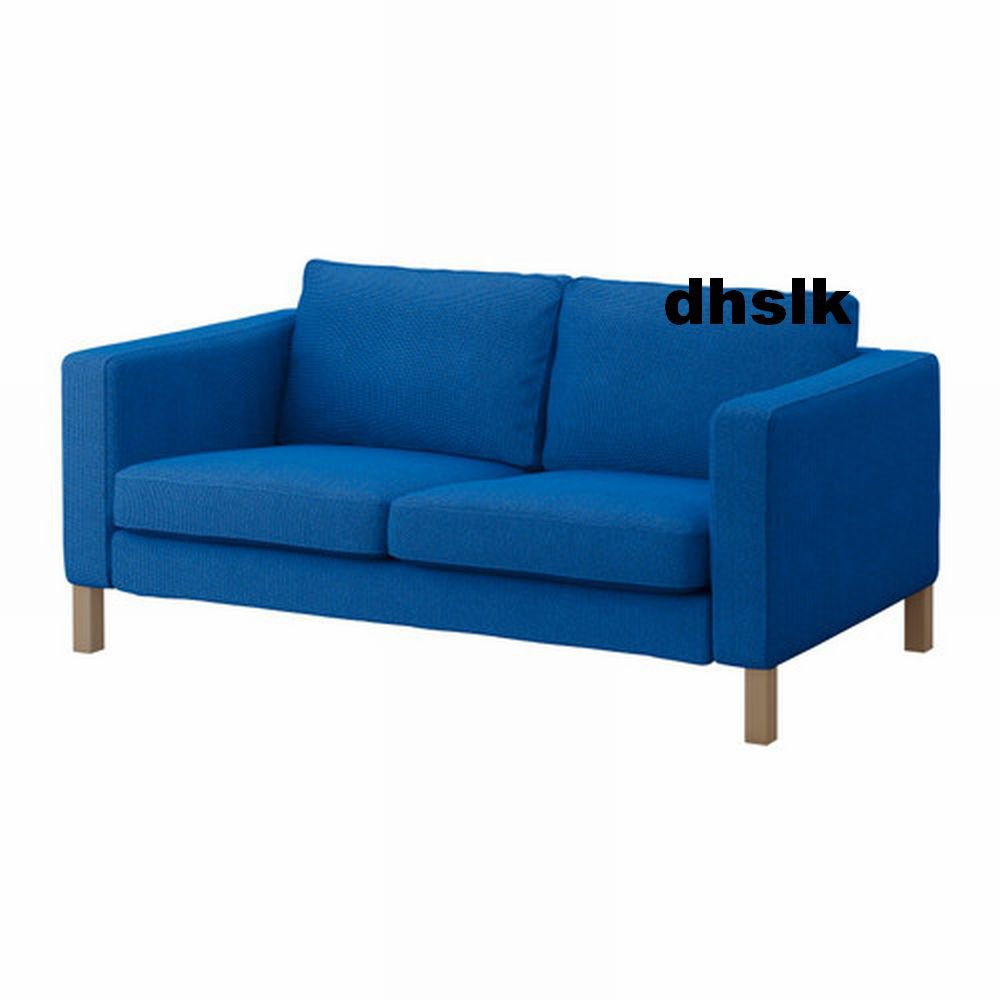 Ikea karlstad 2 seat loveseat sofa slipcover cover korndal medium blue Blue loveseat slipcover