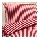 IKEA MARGARETA  Full QUEEN Duvet COVER Pillowcases Set RED White STRIPES Xmas