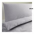 IKEA MARGARETA  Full QUEEN Duvet COVER Pillowcases Set GRAY Grey CHECKED Gingham