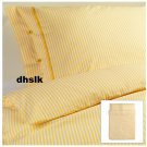 IKEA NYPONROS QUEEN Full DUVET COVER Set TICKING STRIPES YELLOW Yarn Dyed SOFT
