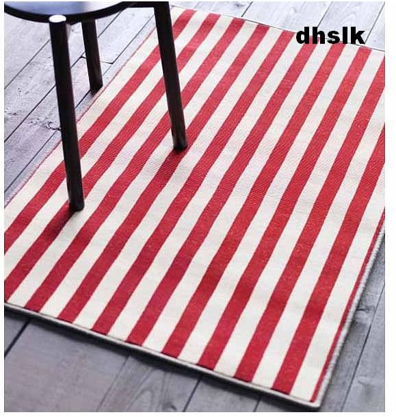 Ikea margareta red striped rug area throw mat low pile red for Red and white striped area rug