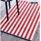 IKEA MARGARETA RED Striped RUG Area Throw Mat LOW PILE RED XMAS