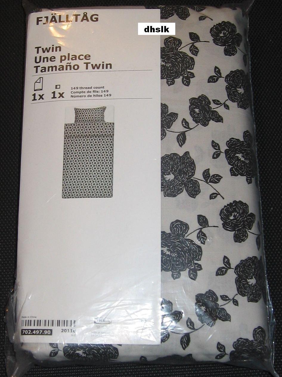 IKEA FJALLTAG TWIN Duvet COVER Pillowcase Set ETHNIC Floral Black Roses