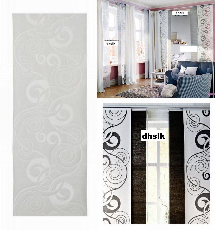 Ikea Anno Vacker Window Curtain Panel Room Divider White Swirls Zen Organic