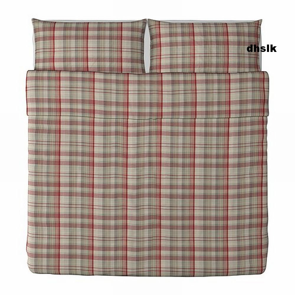 ikea benzy king duvet cover pillowcases set red beige plaid yarn dyed soft. Black Bedroom Furniture Sets. Home Design Ideas