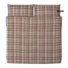 IKEA BENZY KING Duvet COVER Set RED Beige PLAID Yarn Dyed SOFT