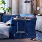 IKEA HAGALUND Sofa Bed SLIPCOVER Cover FRUVIK BLUE White CHECKS Plaid