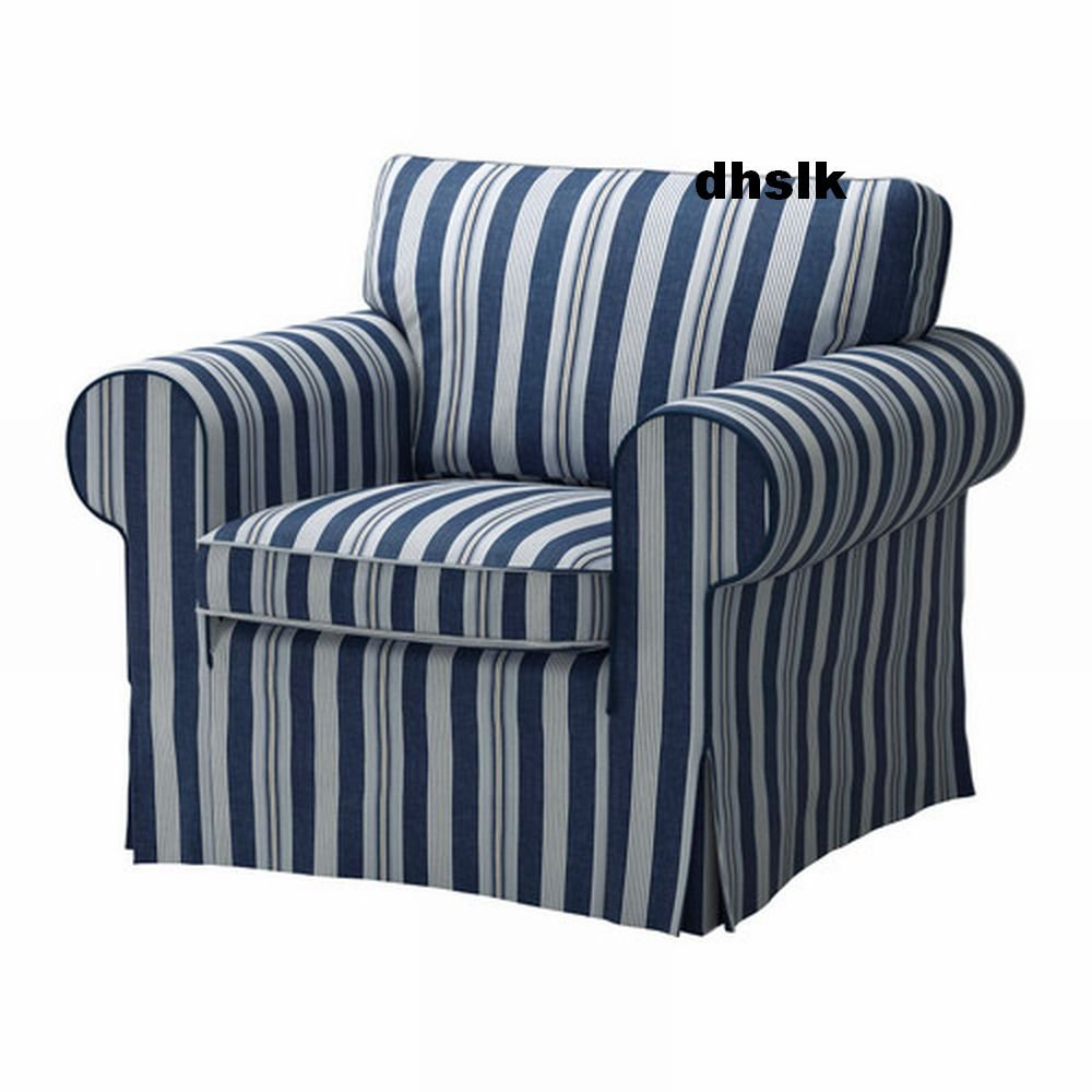 IKEA EKTORP Armchair COVER Chair Slipcover ABYN BLUE White Stripes Byn