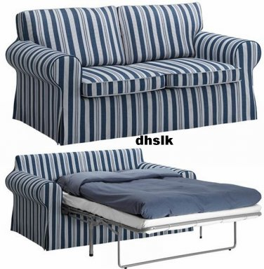 IKEA EKTORP SOFA BED COVER Sofabed Slipcover ABYN BLUE White Stripes Åbyn