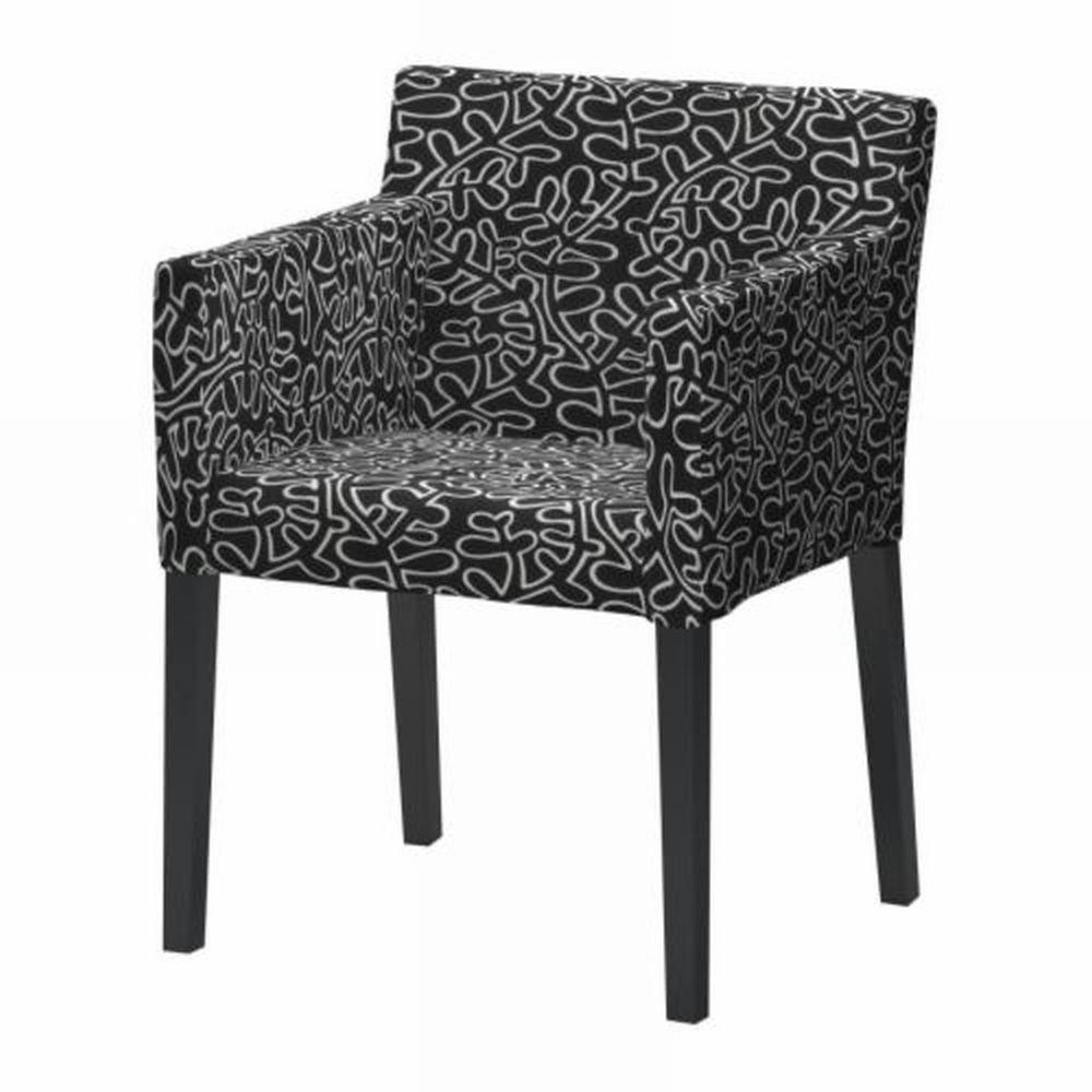 Ikea Nils Chair W Armrests Slipcover Cover Eslov Black White