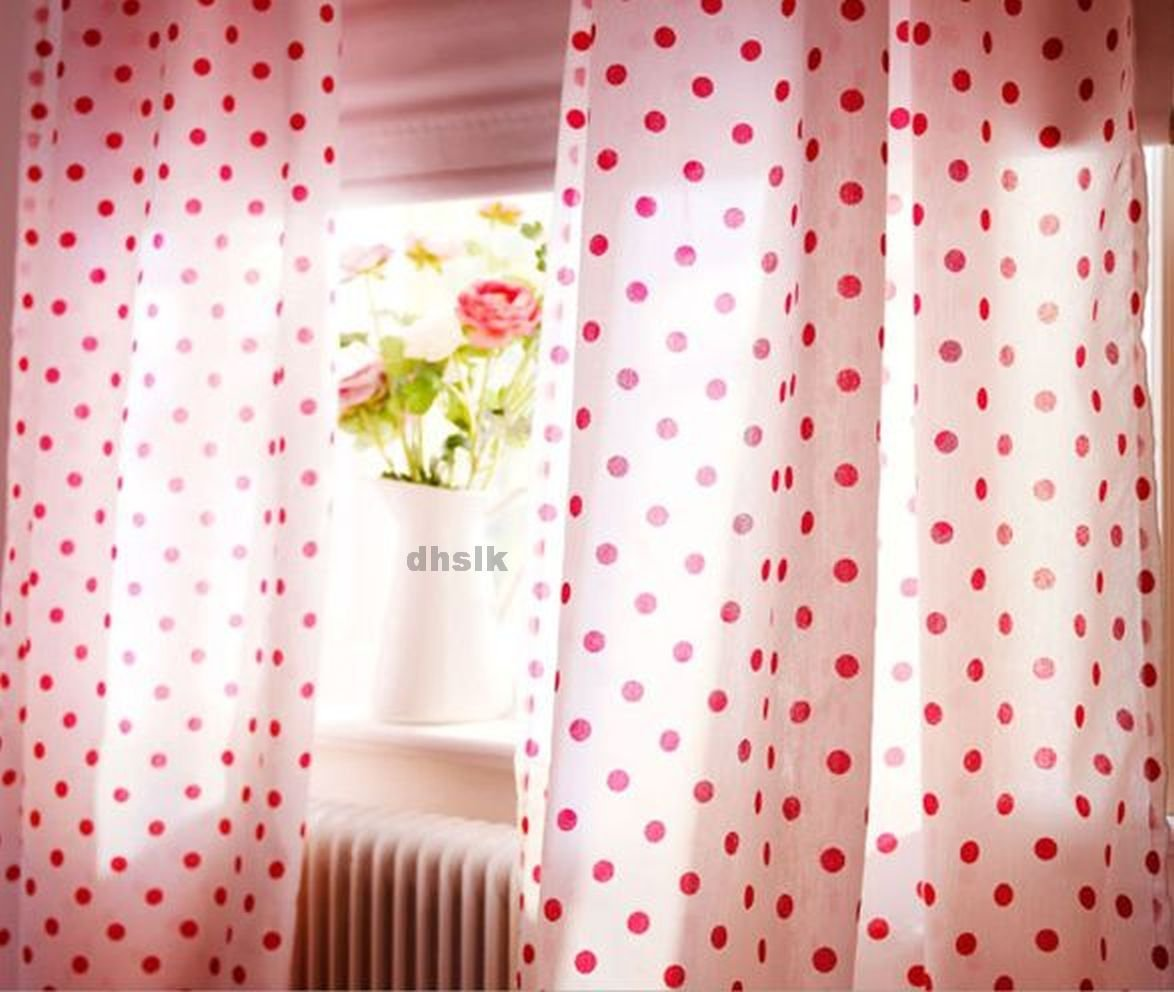 Ikea Gronska Prickar Curtains Cerise White Pink Polka Dots