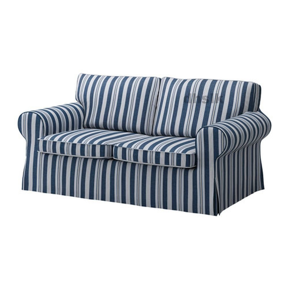IKEA EKTORP 2 Seat Loveseat Sofa COVER Slipcover ABYN BLUE White Stripes �byn