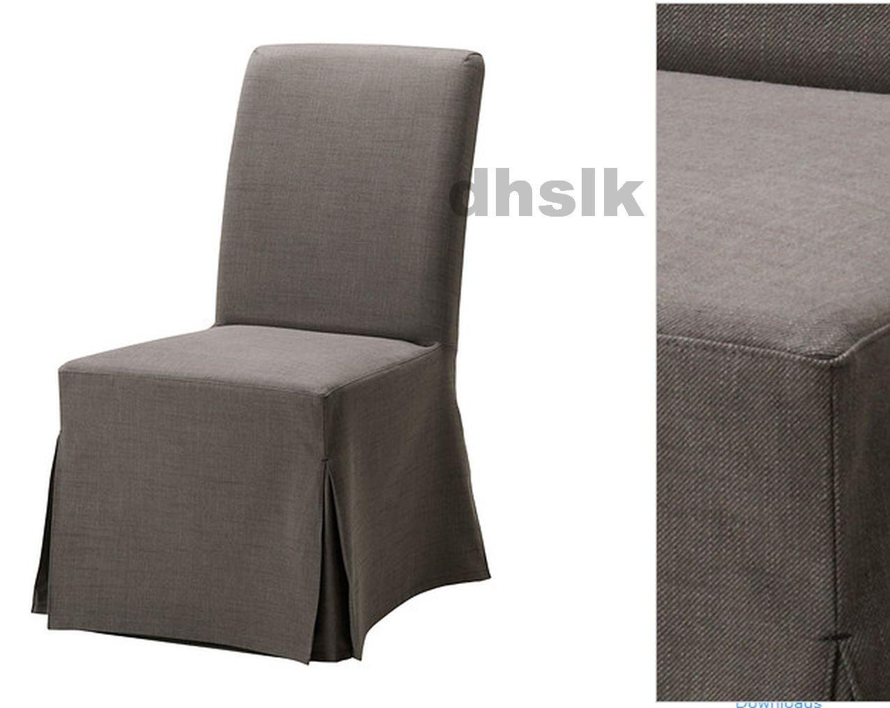 Ikea Henriksdal Chair Slipcover Cover Skirted Svanby Gray
