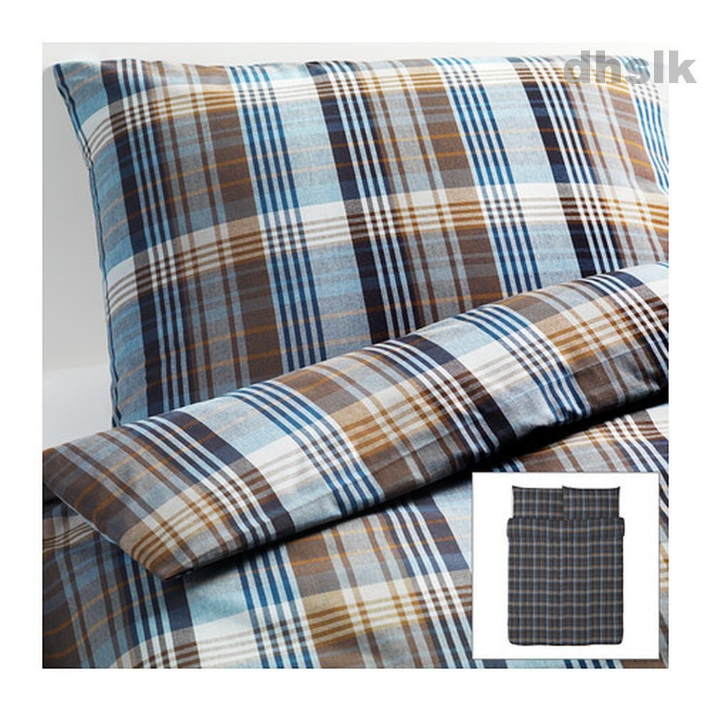 ikea benzy queen full double duvet cover set blue beige plaid yarn dyed soft. Black Bedroom Furniture Sets. Home Design Ideas