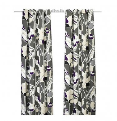 IKEA JANETTE CURTAINS Drapes GRAY Purple Mod LEAF Bold Grey LAST SET - Purple Curtains Ikea