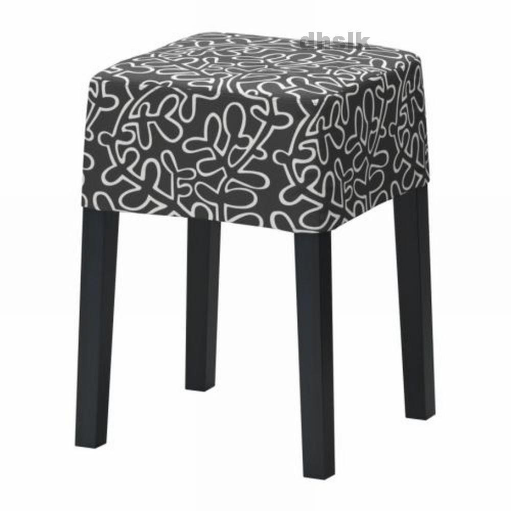 IKEA NILS Footstool SLIPCOVER Cover ESLOV Black White
