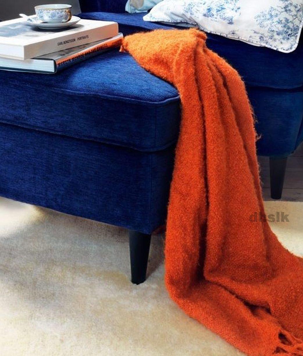 IKEA RITVA ORANGE Throw BLANKET Afghan SOFT Mohair Blend HALLOWEEN Autumn
