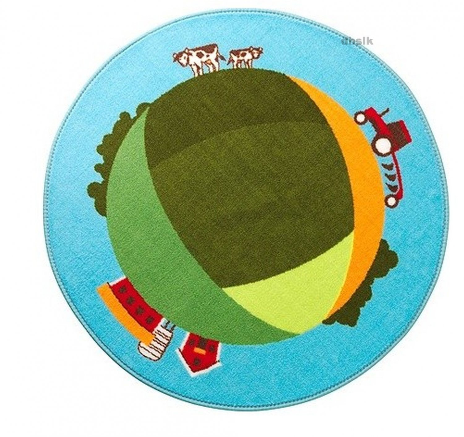 Ikea lekfull land farm world area rug throw play mat barn for Round rugs for kids