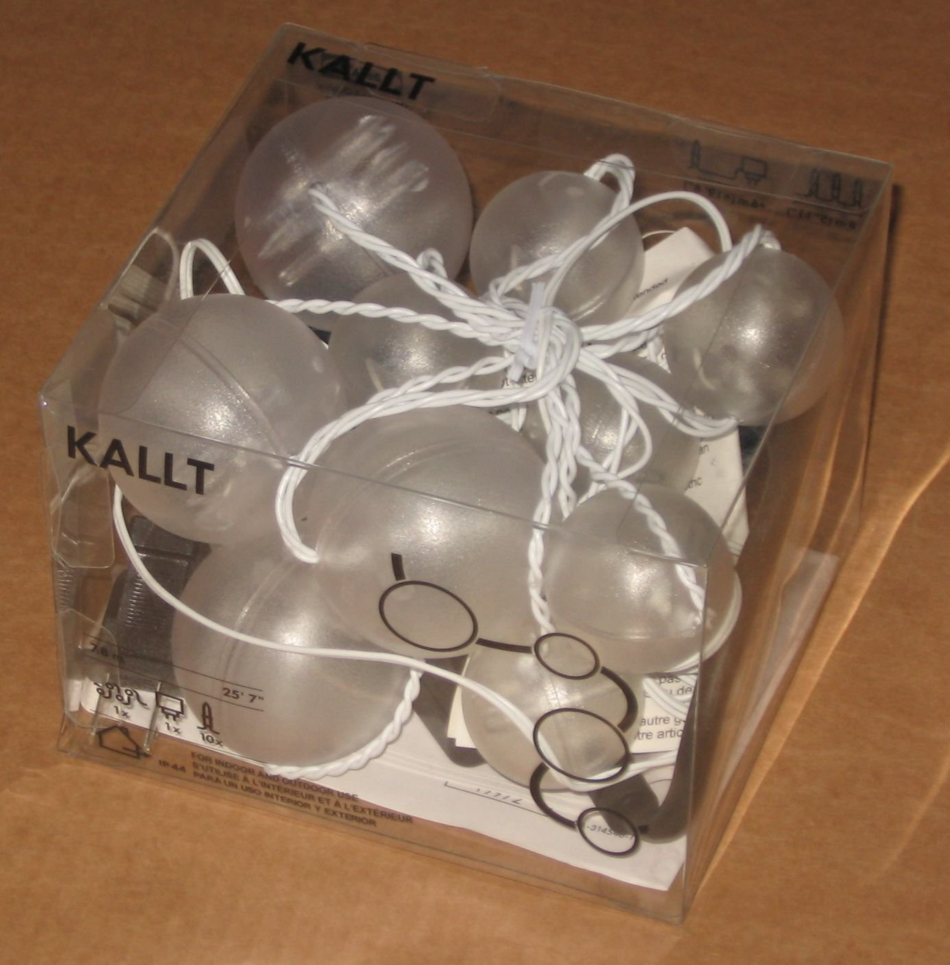 IKEA KALLT LED 10 Snowball LIGHT CHAIN Indoor OUTDOOR ...
