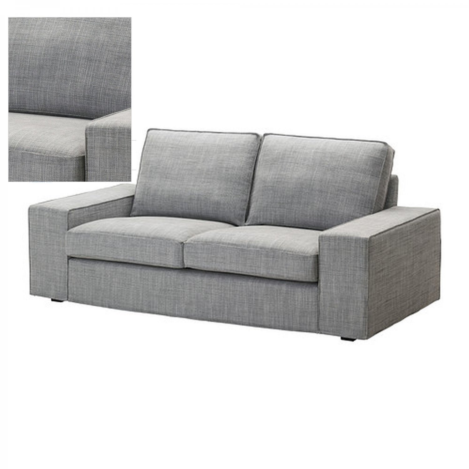 IKEA KIVIK 2 Seat Loveseat Sofa SLIPCOVER Cover ISUNDA GRAY Grey Bezug