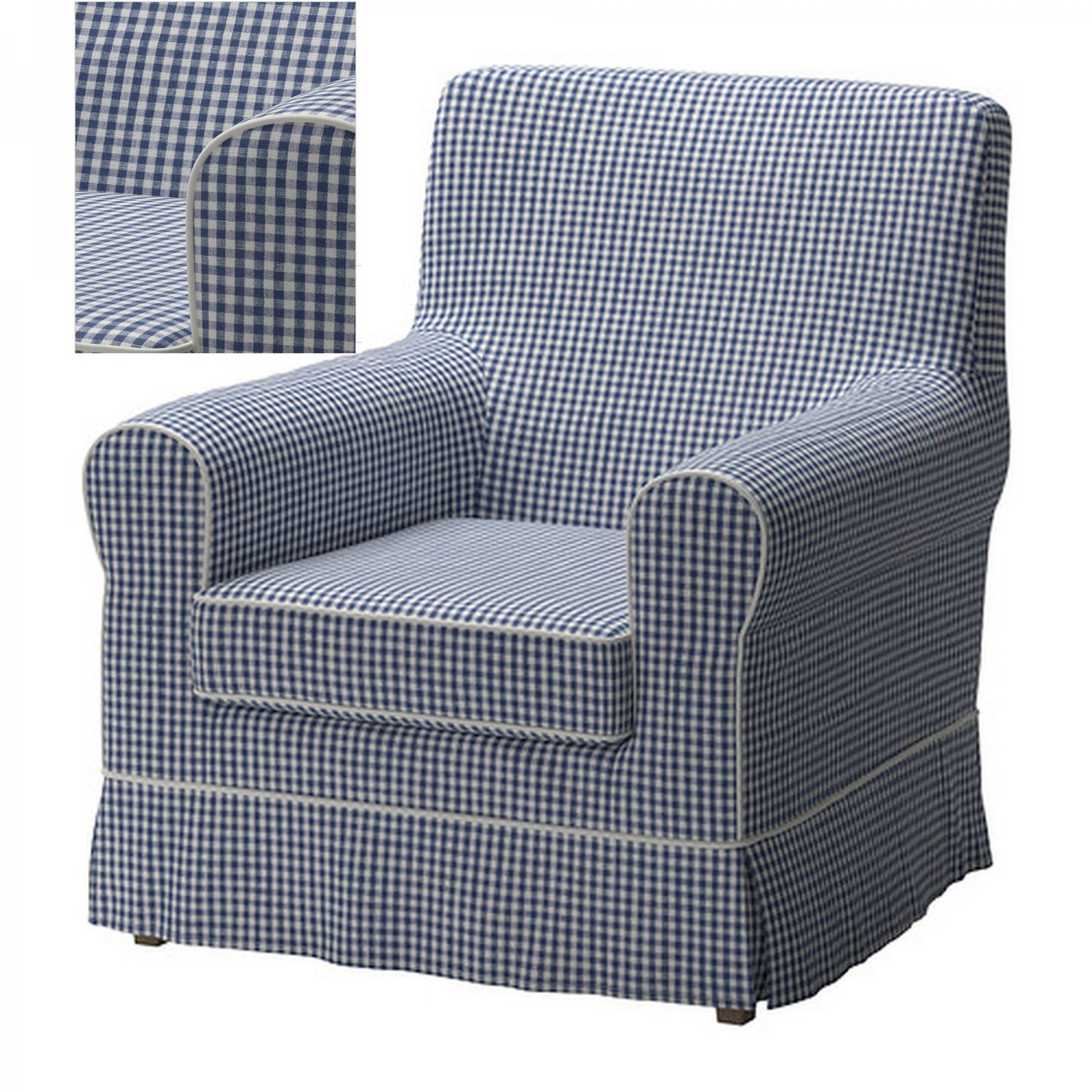 ikea ektorp jennylund armchair slipcover cover norraby blue white checked checks plaid. Black Bedroom Furniture Sets. Home Design Ideas