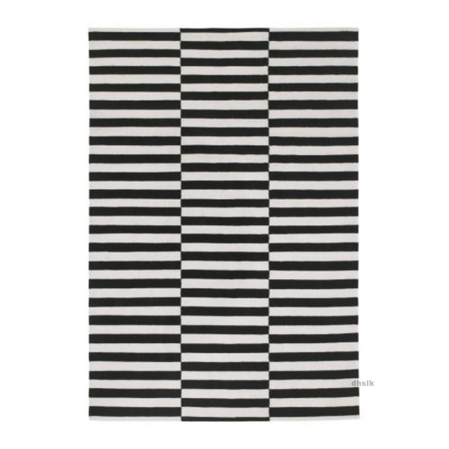Ikea stockholm black white broken stripe area rug mat wool for Ikea rugs