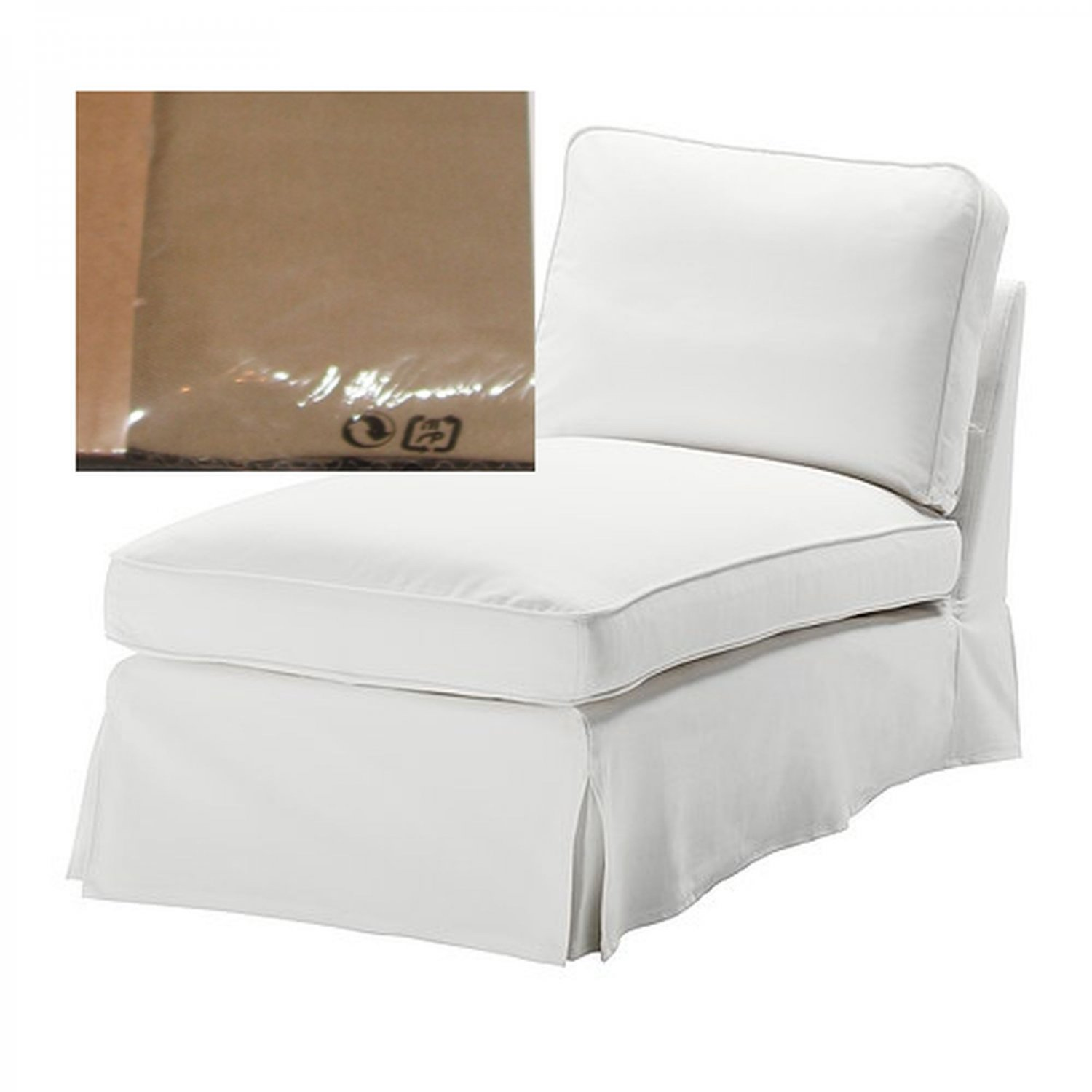 ikea ektorp free standing chaise cover slipcover idemo beige. Black Bedroom Furniture Sets. Home Design Ideas