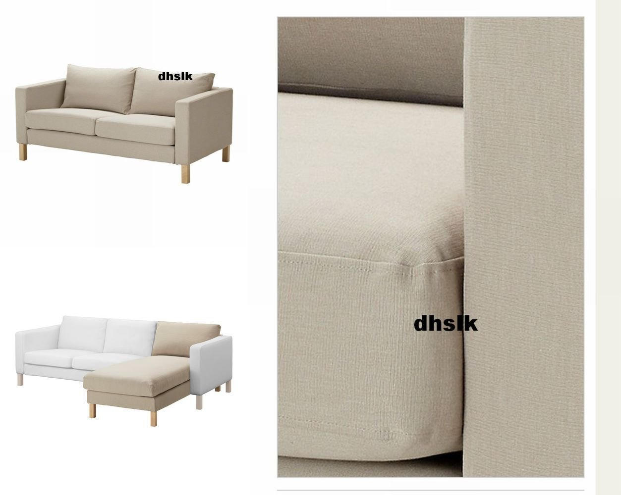 IKEA KARLSTAD 2 Seat Loveseat Sofa And Chaise SLIPCOVER Cover SIVIK BEIGE Add On