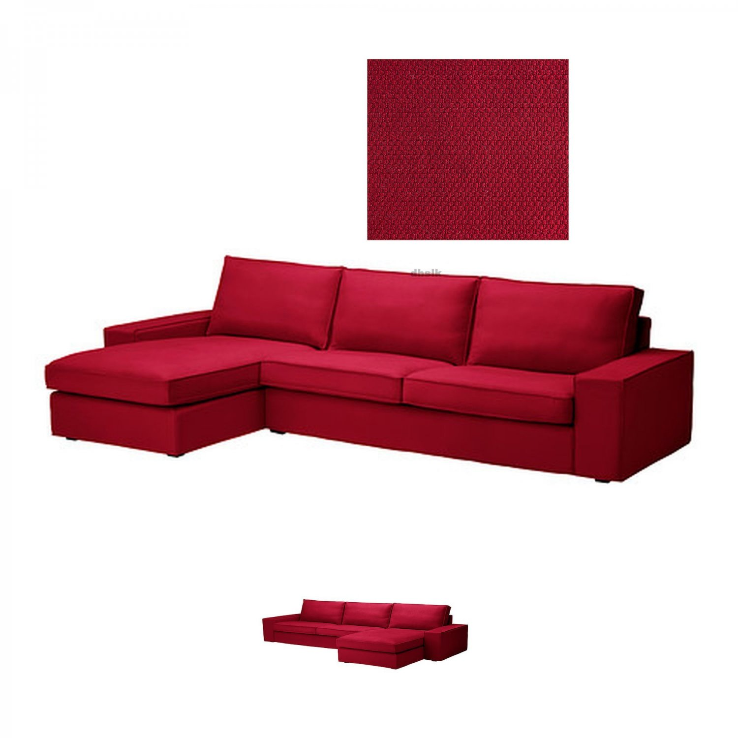 IKEA KIVIK 3 Seat Sofa W Chaise Longue SLIPCOVER Cover DANSBO MEDIUM RED