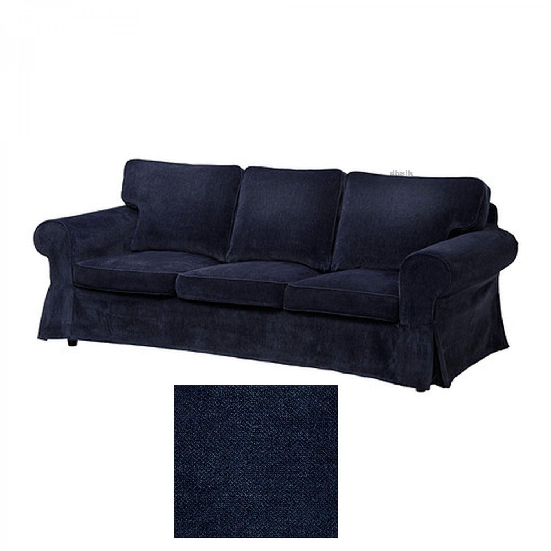 Ikea ektorp 3 seat sofa slipcover cover vellinge dark blue Blue loveseat slipcover