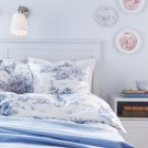 IKEA EMMIE LAND QUEEN Duvet COVER Pillowcases Set  BLUE WHITE Toile FRENCH Design