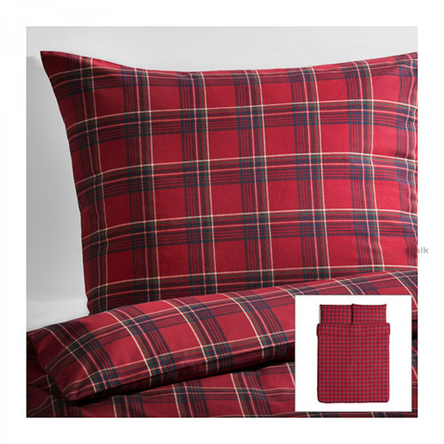 ikea annbritt queen full duvet cover set red blue green plaid tartan check xmas multicolor. Black Bedroom Furniture Sets. Home Design Ideas