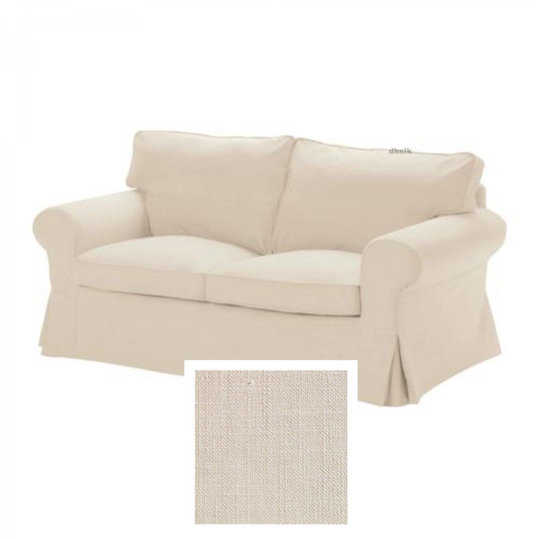 Ikea ektorp 2 seat sofa slipcover loveseat cover svanby beige linen blend Loveseat slipcover