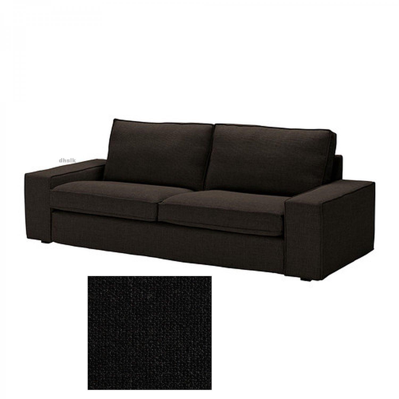 IKEA KIVIK 3 Seat Sofa SLIPCOVER Cover TENO BLACK Tenö