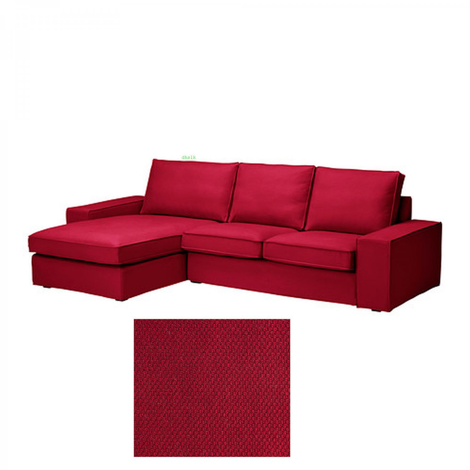 Ikea kivik 2 seat loveseat sofa w chaise lounge slipcover for Chaise couch slipcover