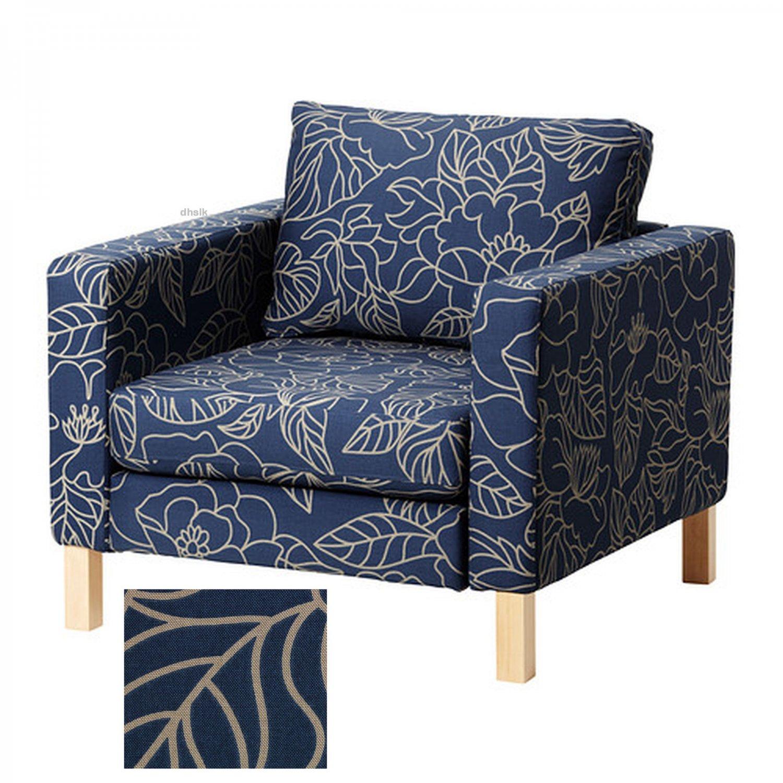 Ikea Karlstad Armchair Slipcover Chair Cover Bladaker Blue