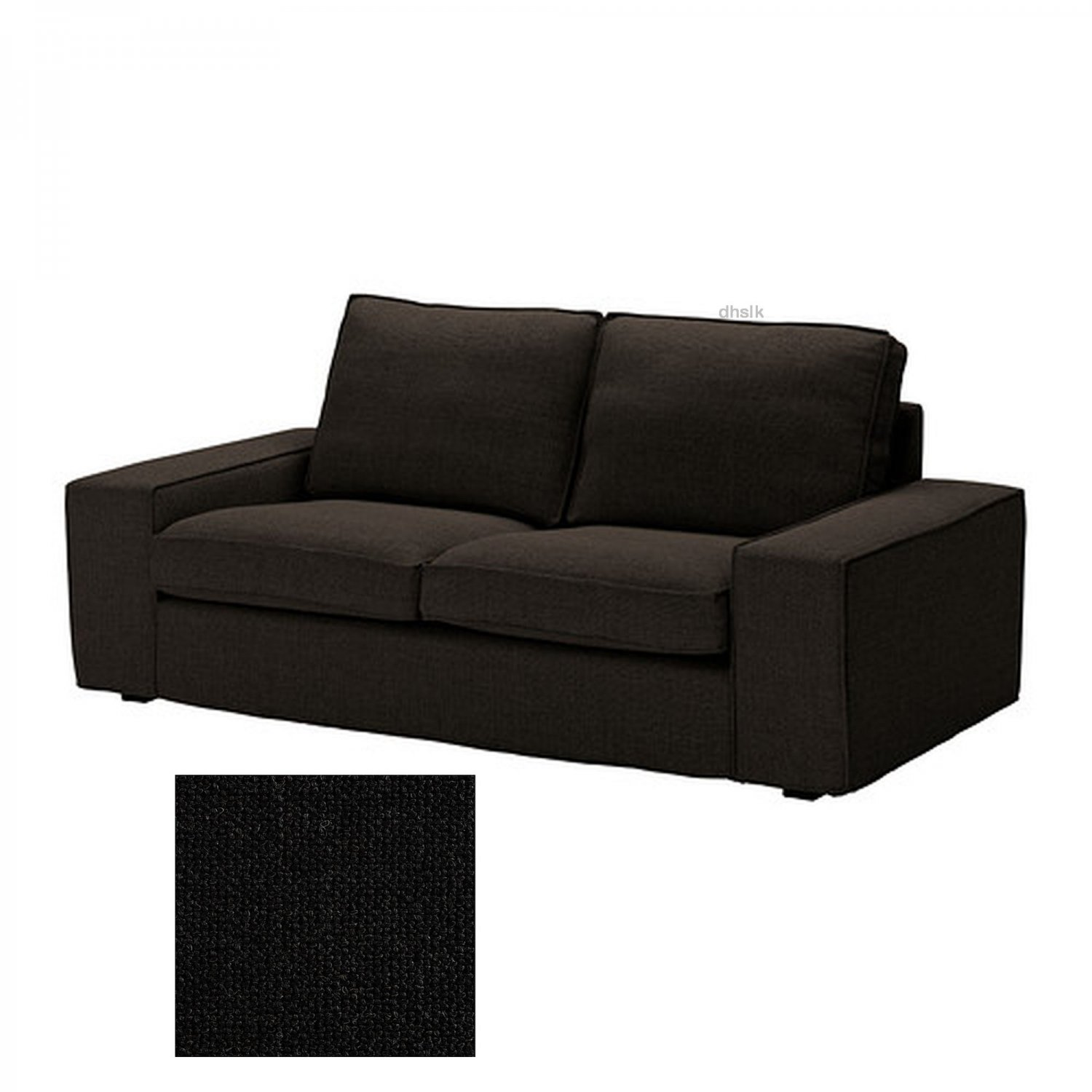 Ikea Kivik 2 Seat Loveseat Sofa Slipcover Cover Teno Black Ten