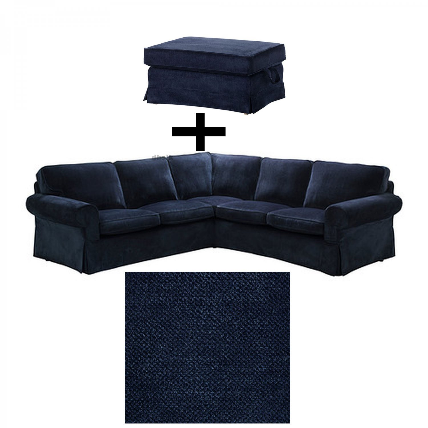 Ikea Ektorp 2 2 Corner Sofa And Bromma Footstool Cover Slipcover Set Vellinge Dark Blue