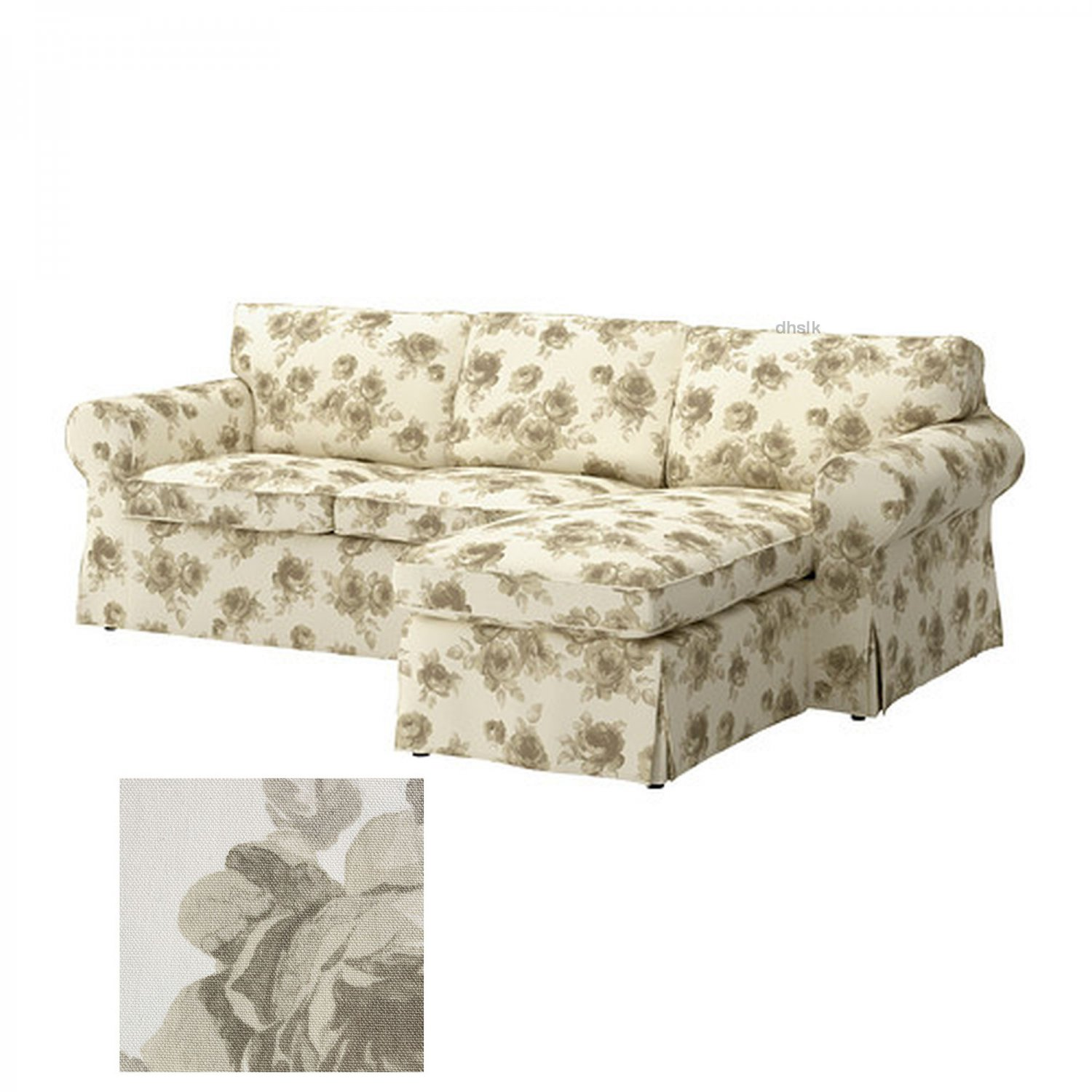 Ikea Ektorp 2 Seat Loveseat Sofa With Chaise Cover Slipcover Norlida Beige Floral On White