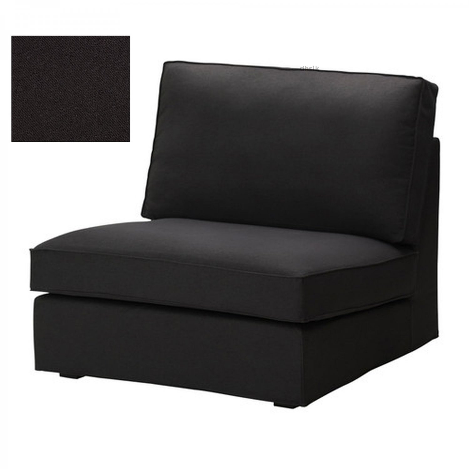 ikea kivik 1 one seat sofa slipcover chair cover idemo black cotton. Black Bedroom Furniture Sets. Home Design Ideas