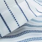 IKEA TYRA BLAD KING Blue White Duvet COVER PILLOWCASES Set LEAVES STRIPES