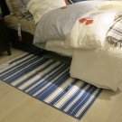 IKEA ALSLEV BLUE White STRIPES Area Throw RUG MAT Reversible Flatwoven