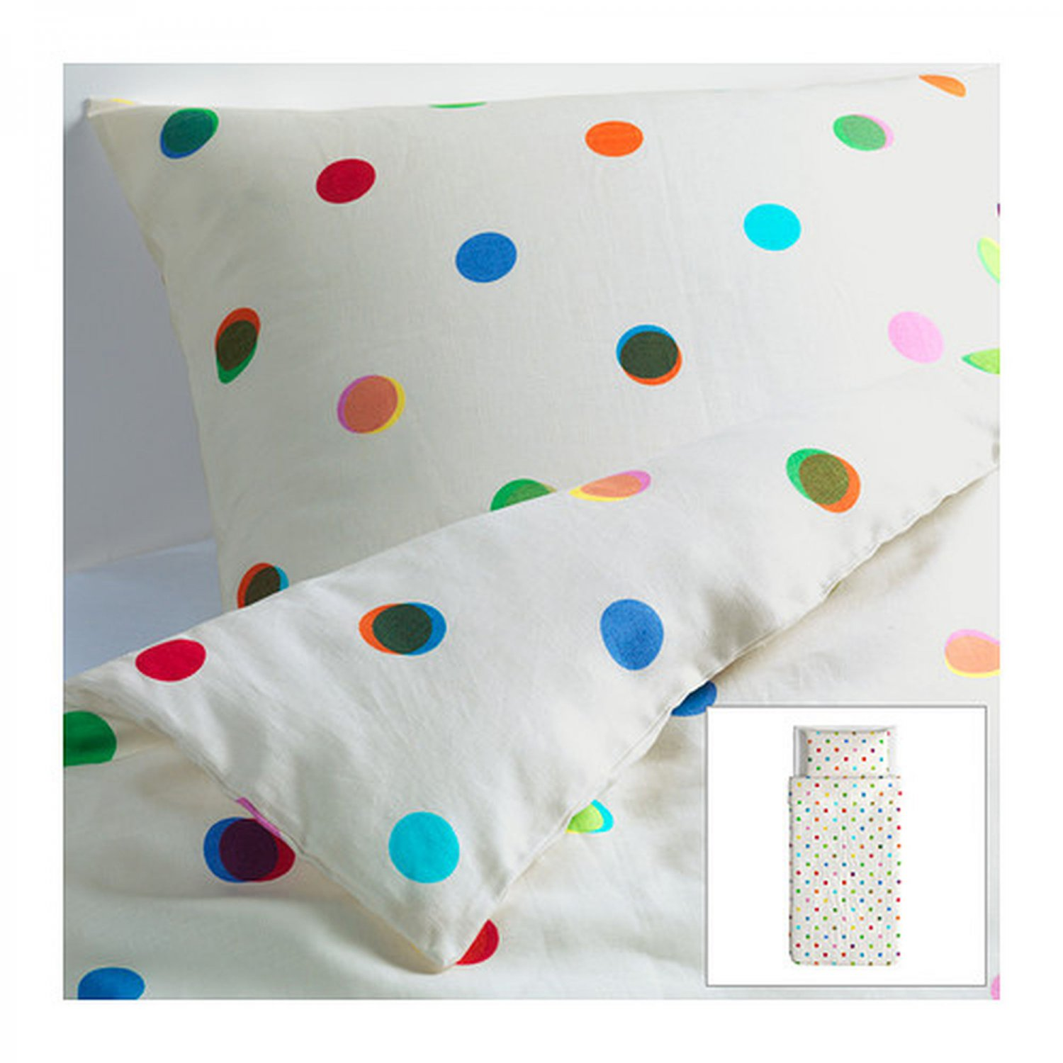ikea ps linen twin duvet cover pillowcases set polka dots white gorgeous. Black Bedroom Furniture Sets. Home Design Ideas